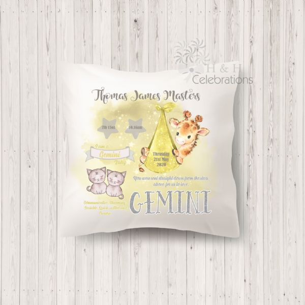 Gemini - Baby Star Sign Keepsake Cushion